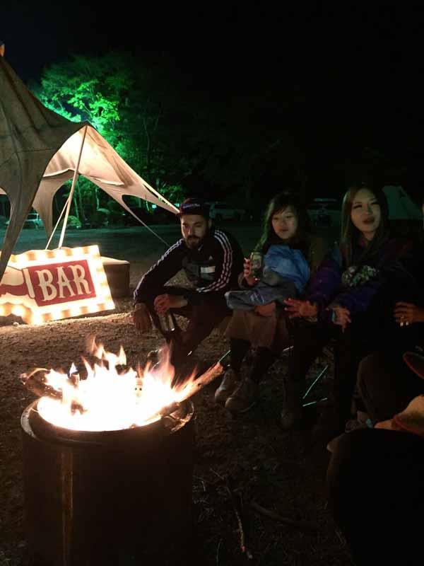 onwa夜の焚き火