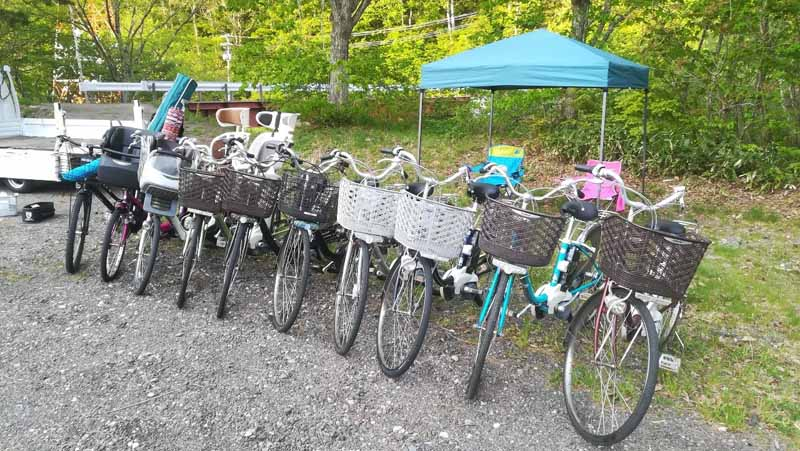 onwaレンタル自転車設営中